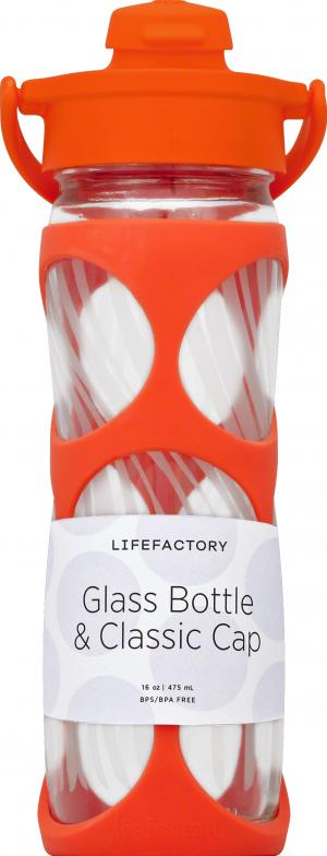 LifeFactory Glass Water Bottle Orange 16 Oz.