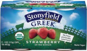 Stonyfield Organic Fat Free Strawberry Greek Yogurt