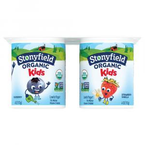 Stonyfield Organic Kids Blueberry Strawberry Vanilla Yogurt