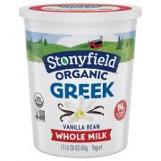 Stonyfield Organic Greek Whole Milk Vanilla Bean Yogurt