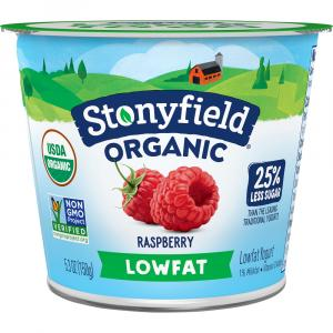 Stonyfield Organic Low Fat Raspberry Yogurt