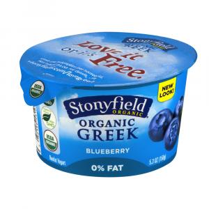 Stonyfield Organic Fat Free Blueberry Greek Yogurt