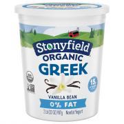Stonyfield Organic Greek 0% Fat Vanilla Yogurt