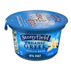 Stonyfield Organic Fat Free Vanilla Greek Yogurt