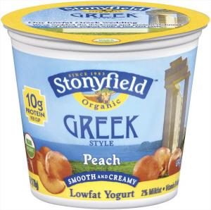 Stonyfield Organic Peach Greek Style Yogurt