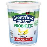 Stonyfield Organic Whole Milk Banilla Probiotic Yogurt