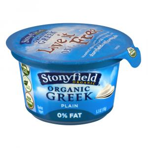 Stonyfield Organic Fat Free Plain Greek Yogurt