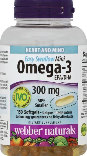 Webber Naturals Enteric Softgel Omega3 Fish Oil Mini 300 Mg
