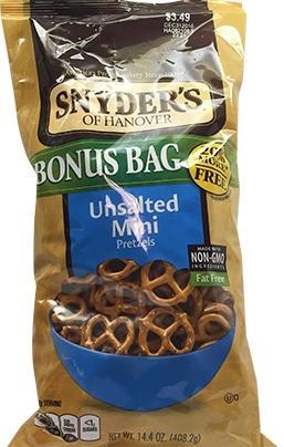 Snyder's Of Hanover Unsalted Mini Pretezls Bonus