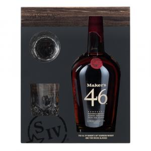 Maker's 46 Kentucky Bourbon Whisky and Two Rocks Glasses