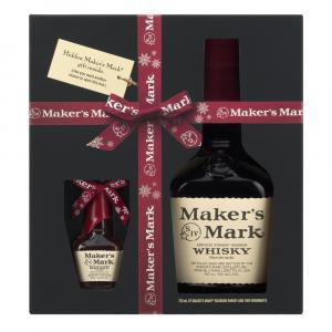 Maker's Mark Kentucky Bourbon Whisky and Two Ornaments