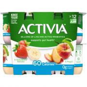 Dannon Activia Strawberry Banana & Peach Yogurt