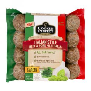 Cooked Perfect Italian Beef & Pork Meatballs