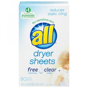 All Dryer Sheets Free & Clear Of Perfumes And Dyes