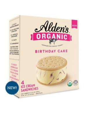 Alden's Organic Birthday Cake Ice Cream Sandwiches