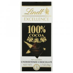 Lindt Excellence 100% Cocoa Unsweetened Chocolate Bar