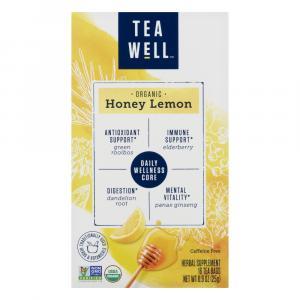 Tea Well Organic Honey Lemon Herbal Supplement Tea Bags