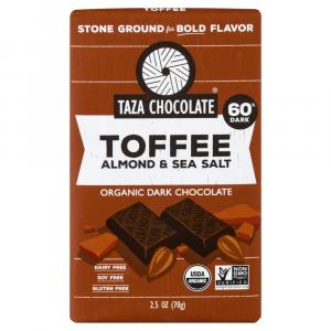 Taza Organic Toffee Almond & Sea Salt Dark Chocolate Bar