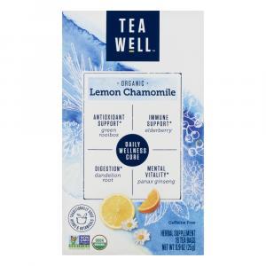 Tea Well Organic Lemon Chamomile Herbal Supplement Tea Bags