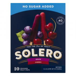 Solero No Sugar Added Grape & Cherry Crushed Fruit Pops