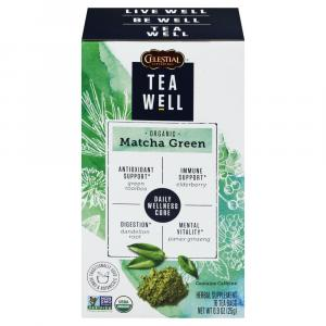 Tea Well Organic Matcha Green Herbal Supplement Tea Bags