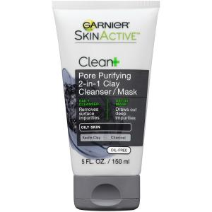Garnier Skin Active 2 In 1 Clay Cleanser/mask With Charcoal
