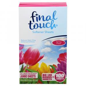 Final Touch Spring Fresh Jumbo SoftenerSheets