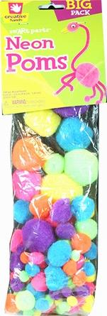 Creative Hands Neon Poms Assorted 100-Pieces