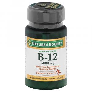 Nature's Bounty Quick Dissolve B-12 5000mcg Cherry Flavor