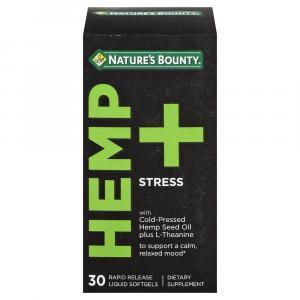 Nature's Bounty Hemp + Stress Softgels