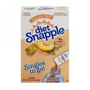 Diet Snapple Peach Tea Singles To Go Drink Mix