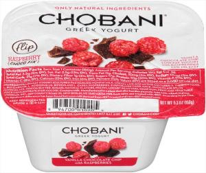 Chobani Flip Vanilla Chocolate Chip Raspberry Low Fat Yogurt