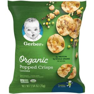 Gerber Organic Popped Crisps Green and Yellow Lentils