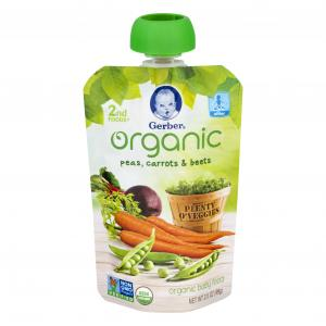 Gerber Organic 2nd Foods Pouch Pea Carrot And Beets