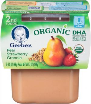 Gerber 2nd Foods Organic Pear Strawberry Granola With Dha