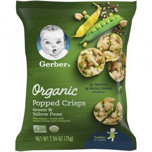 Gerber Organic Popped Crisps Green and Yellow Peas