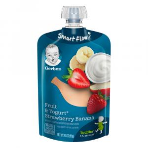 Gerber Smart Flow Pouch Strawberry Banana Fruit & Yogurt