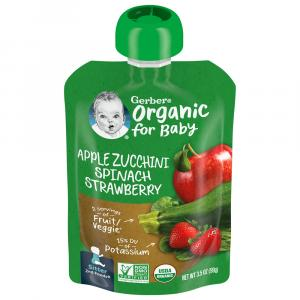 Gerber 2nd Foods Organic Apples, Zucchini, Spinach & Strawbe
