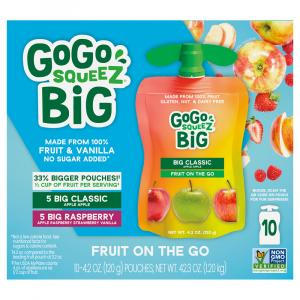 GoGo Squeeze No Sugar Added Raspberry & Apple