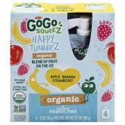 Gogo Squeeze Organic Happy Tummiez Apple Banana Strawberry