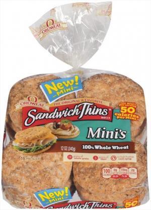 Arnold 100% Whole Wheat Sandwich Thin Mini's