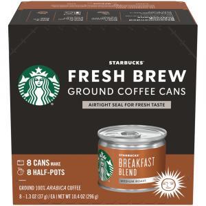 Starbucks Fresh Brew Breakfast Blend Ground Coffee Cans