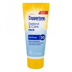 Coppertone Defend & Care Face Oil Free Sunscreen Lotion 50