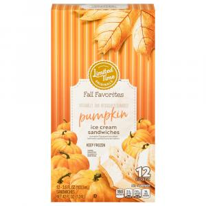 Limited Time Originals Pumpkin Flavored Ice Cream Sandwiches