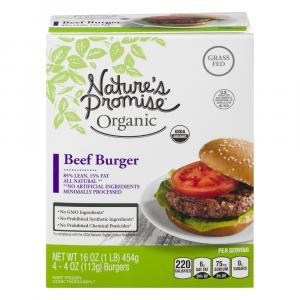 Frozen Nature's Promise Organic Grass Fed 85% Beef Burger