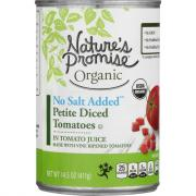Nature's Promise Organic No Salt Added Petite Diced Tomatoes