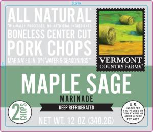 Vermont Country Farms Maple Sage Marinade Pork Chops
