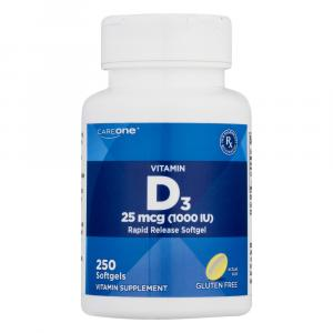 CareOne Vitamin D3 25mcg 1000IU Rapid Release Softgel