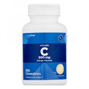 CareOne Chewable Vitamin C 500mg Orange Flavored Tablets