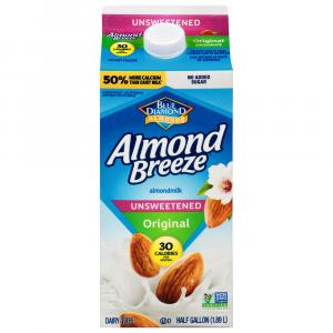 Blue Diamond Almond Breeze Unsweetened Original Almond Milk